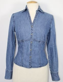 Womens Harolds Jean Blue Denim 100% Cotton Long Sleeve Fitted Shirt