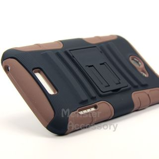 Black Brown Rhino Kickstand Hybrid Case + Holste for HTC ONE X AT&T