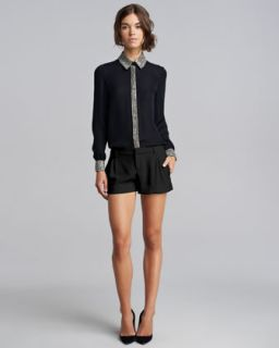 41WL Haute Hippie Bead Trim Silk Blouse & Pleated Tuxedo Shorts