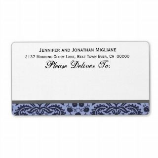 Navy and Steel Blue Wedding Damask Custom Shipping Labels
