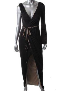 Hoaglund New Black Matte Jersey One Sleeve Cocktail Evening Dress Gown