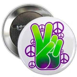2.25 Button Peace Symbol Sign Neon Hand