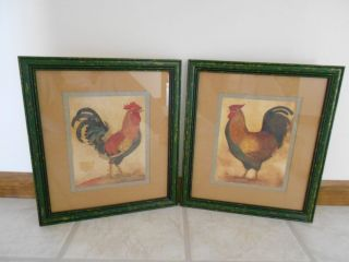 Home Interior Rooster Hen Picture Set Used