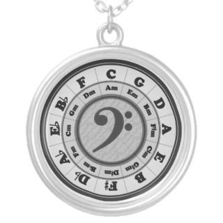 Music Circle of Fifths   Bass Clef version Custom Necklace