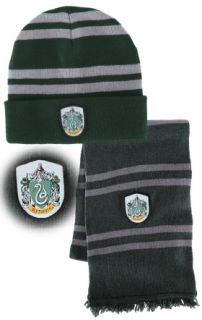 Harry Potter Slytherin House Wool Scarf Hat w Crest Beanie Green