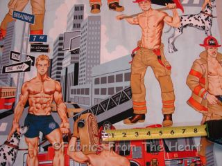 Action Sexy Firemen Fire Trucks BY YARDS Alexander Henry Cotton Fabric
