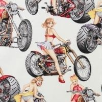 Alexander Henry Hot Wheels Cotton Quilt Fabric (White)   1 Yard