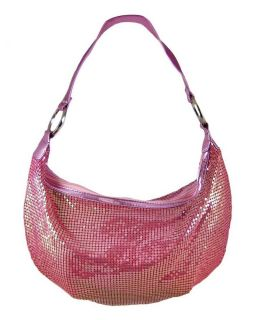 metallic pink metal mesh hobo bag purse handbag