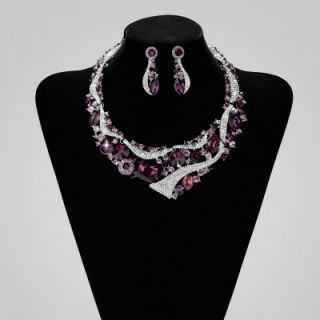 Fashion Rhinestone Crystal Bride Wedding Jewelry Necklace Earrings Set