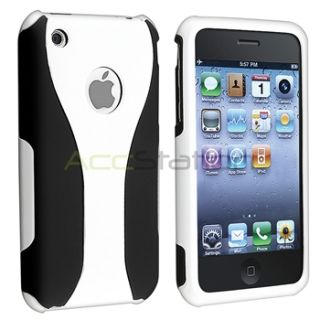White Black Cup Shape 3 Piece Hard Snap on Case Cover for iPhone 3 G
