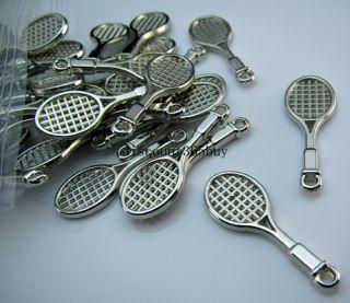 Lot Bulk 100pcs Acrylic Silver Plate Spacer Racket Link Ring Pendant
