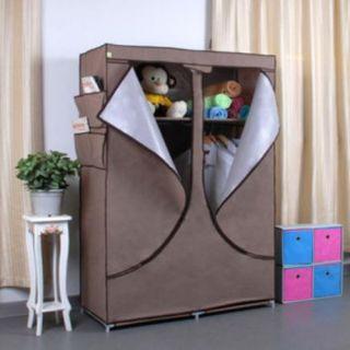 Portable Cloth Clothes Wardrobe Light Brown Home Organization Closet
