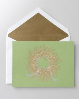 Crane & Co. 50 Engraved Gold Wreath Christmas Cards