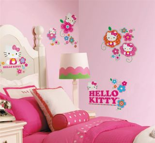 New Hello Kitty Floral Boutique Wall Decals Girls Stickers Pink