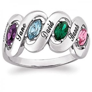 PERSONALIZED STERLING SILVER MOTHERS MARQUISE BIRTHSTONE RING   2 TO 4