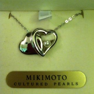 jal Limited Edition★mikimoto New Silver Heart Shape Cultured