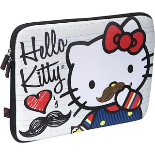 image to enlarge loungefly hello kitty mustache laptop case tan with