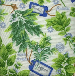 Country HERB GARDEN Blue Green Ivory FLORAL Kitchen Chair Pads Seat