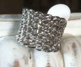 Show Stopper Large Awesome Mesh Chain Look Ring Stainless Steel Design