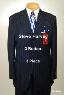 48L Suit STEVE HARVEY Dark Blue Stripe Mens Suits 48 Long   H64