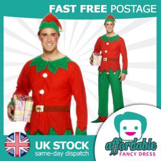 New Ladies Mens Christmas Santas Helper Elf Costume Xmas Fancy Dress