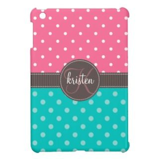 Girly Personalized Pink & Teal Dots iPad Mini Cases