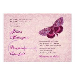 Pink Wine Vintage Butterflies Wedding Template Custom Invites