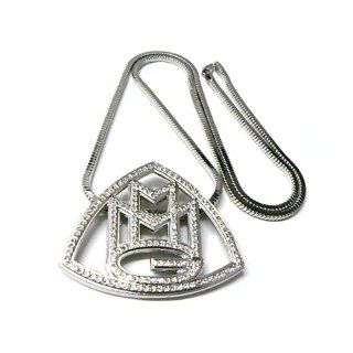 Iced Out MMG Silver Pendant and 36 Inch Franco Chain Rick Ross Maybach