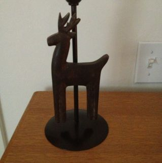 Christmas Candle Holder With Reindeer Metal And Wood 11 Inches By 5