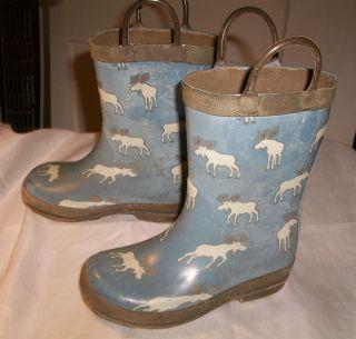 Hatley Pull Up Rubber Waterproof Little Kids 9 Baby Blue Moose Rain