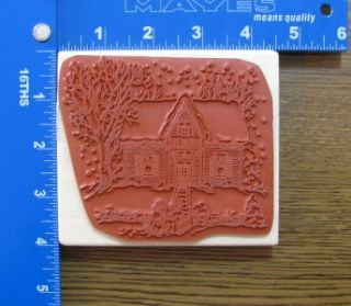 Holly Pond Hill Rubber Stamp XL Christmas Winter Snowy House Scene New