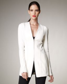 Donna Karan Zip Front Long Stretch Jacket   Neiman Marcus