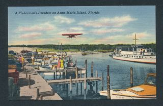 YACHT BASIN AND AIRPORT Linen Postcard ANNA MARIA ISLAND, FLORIDA FL