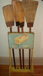Country Store Broom Holder~HAUSWALDS BREAD~Advertising Display