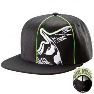 METAL MULISHIA CLIP BLACK LIME GREEN FLAT BILL FLEX FIT HAT CAP NEW