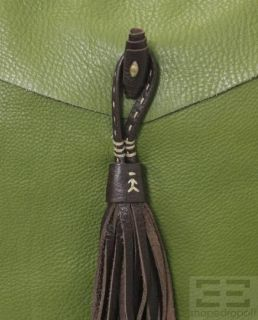 Henry Beguelin Green Leather Brown Tassel Shoulder Bag