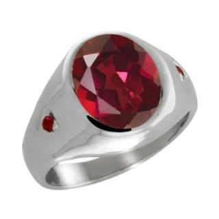 4.23 Ct Oval Ruby Red Mystic Quartz and Red Garnet 14k