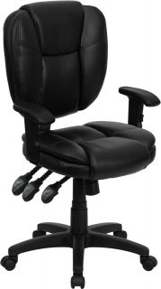 SOFT LEATHER MULTI FUNCTION SWIVEL TILT HOME OFFICE DESK CHAIRS W ARMS