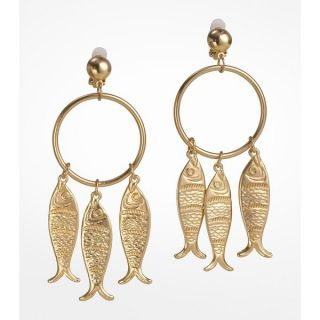 Fish Charm Dangle on Hoop Clip on Gold Plated Earrings Jewelry