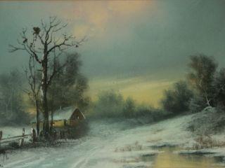 William Henry Chandler Pastel Landscape Winter Scene