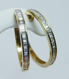 Fine Vintage 1 25ct Baguette Diamond Hoop Earrings 18K Gold Estate