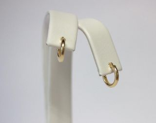 AU107 Hoops Earring Genuine Yellow Gold 14k Baby Hoops Very Small Tiny