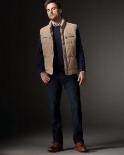 Brunello Cucinelli Water Repellent Leather Vest & Five Pocket Pants