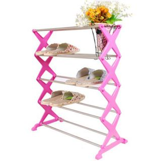 Stainless Steel Shoe Rack Home Organization Housekeeping Compac