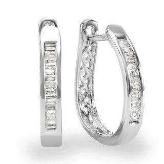 0.25 Carat (ctw) 10k White Gold Ladies Baguette Diamond