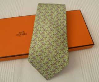 Hermes Light Green Horse Riding Jumping Jockey Print Silk Tie 5321 TA