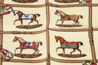 Hermes Gold Silk Equestrian Print Pocket Square Scarf
