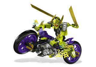 Lego 6231 Hero Factory Green Speeda Demon w Motorcycle Motor Bike Free