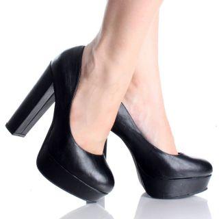 Black Platform Pumps Chunky High Heels Goth Cosplay Womens Dress Shoes
