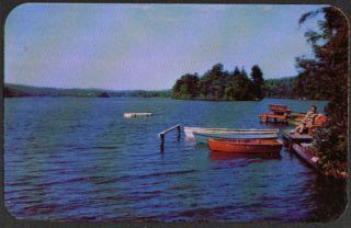 Boat Dock Main Highland Lake Vernon NJ Postcard 50s